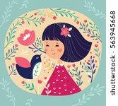 girl and bird | Shutterstock .eps vector #563945668