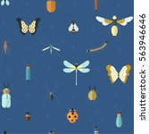 geometric pattern with bugs and ...   Shutterstock .eps vector #563946646