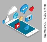 social media flat 3d isometric... | Shutterstock .eps vector #563947528