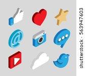 social media flat 3d isometric... | Shutterstock .eps vector #563947603