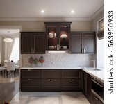 Stock photo elegant and luxurious open kitchen chocolate and beige colors with gray and white tiles d render 563950933