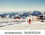 winter season. view skiing... | Shutterstock . vector #563953324