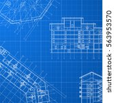 vector blueprint with house... | Shutterstock .eps vector #563953570