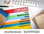 compliance concept. office desk ...   Shutterstock . vector #563959360
