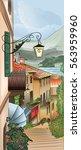 illustration of city street.... | Shutterstock .eps vector #563959960