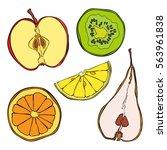 fruits  orange  lemon  kiwi ... | Shutterstock .eps vector #563961838