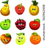 funny fruit face and cartoon... | Shutterstock .eps vector #563962408