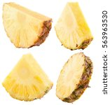 set of pineapple slices... | Shutterstock . vector #563963530