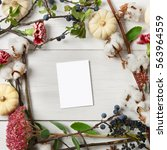floral composition. frame made...   Shutterstock . vector #563964559