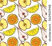 fruits  orange  lemon  kiwi ... | Shutterstock .eps vector #563965948