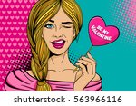 pop art face. young sexy blonde ...   Shutterstock .eps vector #563966116