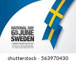 swedish flag. 6 th of june.... | Shutterstock .eps vector #563970430