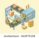 conveyor system in flat design. ... | Shutterstock .eps vector #563975158