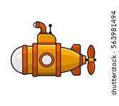 yellow submarine with periscope ... | Shutterstock .eps vector #563981494