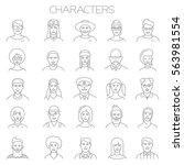 thin line vector online people... | Shutterstock .eps vector #563981554