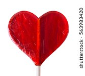 one candy heart shape on white... | Shutterstock . vector #563983420