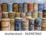 carpets and kilims rolled up | Shutterstock . vector #563987860