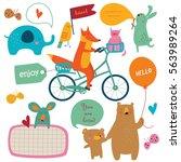 vector illustration of cute... | Shutterstock .eps vector #563989264