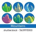 vector set of round blue labels ... | Shutterstock .eps vector #563995003