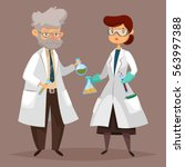 man and woman chemist with test ... | Shutterstock .eps vector #563997388