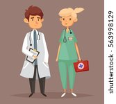 doctor with stethoscope and...   Shutterstock .eps vector #563998129