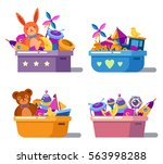 kid or children cartoon toys in ... | Shutterstock .eps vector #563998288