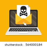 laptop with envelope and skull... | Shutterstock .eps vector #564000184