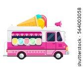 the ice cream pink cute van... | Shutterstock .eps vector #564003058