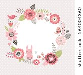 floral background. wreath frame ... | Shutterstock .eps vector #564004360