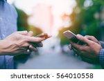 hand of group businessman using ... | Shutterstock . vector #564010558
