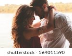 happy couple face to face and... | Shutterstock . vector #564011590