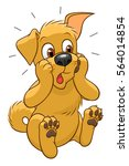 surprised cartoon cute dog on... | Shutterstock .eps vector #564014854
