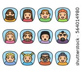 set of people icons with faces. ... | Shutterstock .eps vector #564014980