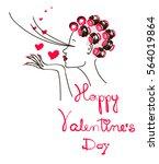 girl sends a kiss. greeting... | Shutterstock .eps vector #564019864