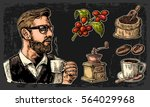 set coffee. hipster barista... | Shutterstock .eps vector #564029968