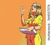 young women managing process.... | Shutterstock .eps vector #564037576