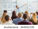 speaker at business meeting in... | Shutterstock . vector #564042130