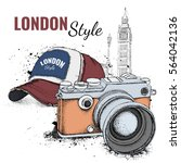 hand drawn cap and vintage... | Shutterstock .eps vector #564042136