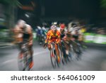 motion blur of asian cycling... | Shutterstock . vector #564061009