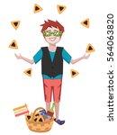 purim greetings  boy juggling...   Shutterstock .eps vector #564063820