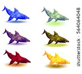 set of polygonal sharks.... | Shutterstock .eps vector #564064048