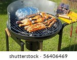 grilling meat at summer weekend | Shutterstock . vector #56406469