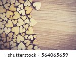 wooden hearts placed nicely on... | Shutterstock . vector #564065659