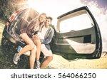young happy couple having fun... | Shutterstock . vector #564066250