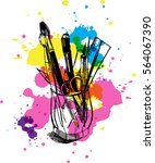 brushes  pens  pencils  ruler... | Shutterstock .eps vector #564067390