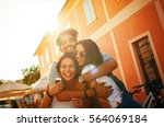 group of happy young friends... | Shutterstock . vector #564069184