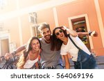 group of happy young friends... | Shutterstock . vector #564069196