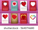 valentine's day postcards and... | Shutterstock .eps vector #564074680