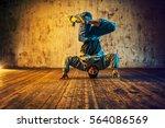 young man break dancing on wall ... | Shutterstock . vector #564086569