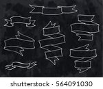 vintage hand drawn ribbon... | Shutterstock .eps vector #564091030